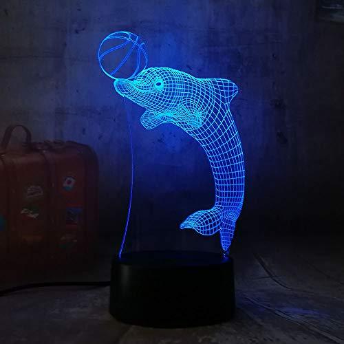 3D nachtlampje dolfijn speelbal 7 kleuren afstandsbediening noot slaapkamer lamp hoofddecoratie, kinderkerstcadeau