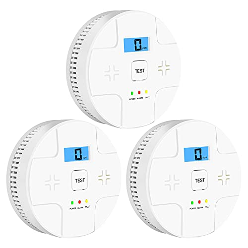 3 Pack Combination Smoke and Carbon Monoxide Detector Battery Operated, Portable Smoke and Co Alarm for Home Bedroom Travel