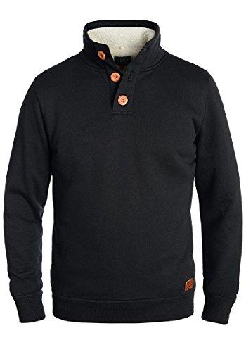 Blend Tedder Herren Winter Pullover Sweatshirt Troyer mit Teddy-Futter, Größe:M, Farbe:Black (70155)