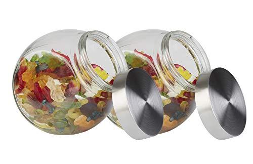 APS Vorratsglas 2er Set - Behälter mit Premium Glaskugel-Optik und Schraubdeckel aus rostfreiem Edelstahl - Aromadichte durch die hochwertigen Schraubdeckel