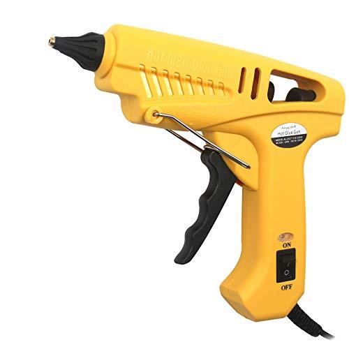 Pistola de Silicona 100W Industrial con 5piezas Barras de Pegamento Alta temperatura kit de Pistola de Pegamento para Artesanía de Bricolaje y Reparaciones Rápidas en el Hogar y la Oficina, Amarillo