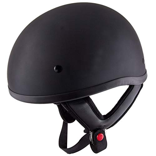 Outlaw Helmets HT1 Hustler Solid Matte Black Motorcycle Half Helmet for Men & Women DOT Approved -...