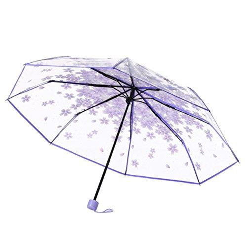 Taschenschirm Transparent, Regenschirm Durchsichtig, Sakura 3 Falten Regenschirm Transparenter Schirm, Stabil, Faltbar für Reisen und Outdoor (Lila)