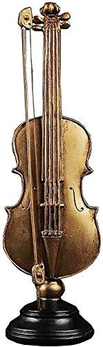 Raelf Decoración de escritorio Instrumento musical Escultura, Decoración de escritorio para el hogar Obra Regalo Color Oro Decoración Figuras Violín Estatua Ornamento Resina Accesorios para el Hogar