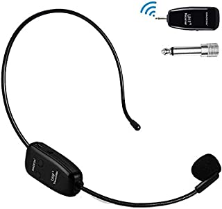 XIAOKOA Wireless Microphone,UHF Microphone Stable 50 m Wireless Transmission, 2 in 1 Headset and Handheld for Voice Amplif...
