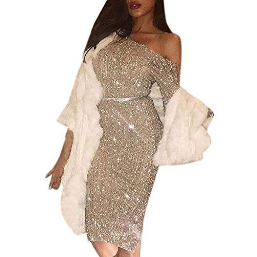 Vestidos para Mujer,Elegante Fiesta Vestidos Vestido de Cóctel Vestido de Noche Vestido de Lentejuelas Moda Slim Fit Vestidos Corta Sexys Vestidos Vestido un Hombro vpass