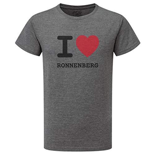 JOllify RONNENBERG T-Shirt mit hochwertigem Druck – I Love – Größe: S – Farbe: grau Charcoal