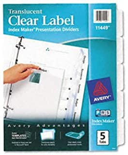 Avery® Index Maker® Clear Label perforées Translucide Intercalaires intercalaire, Indx Makr, 5TB (lot Of15)