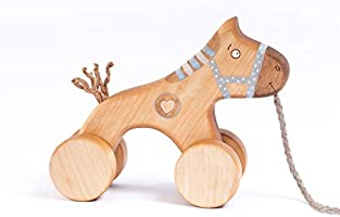 Pull Toy for Toddlers, Handmade Wooden Toy Blue Horse, Personalized Toddler Gift