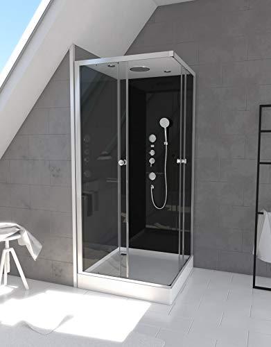 MARWELL Komplettdusche Fertigdusche Black Square 90 x 90 x 215 cm – Eckdusche mit Eckeinstieg - Duschkabine mit hochwertigen Aluminiumprofilen - Einstiegshöhe 15 cm