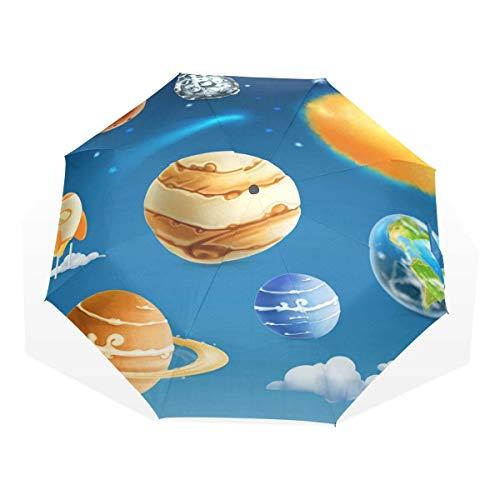 Trushop Paraguas Automático Planet Windproof Travel Umbrella Compact Folding Umbrella