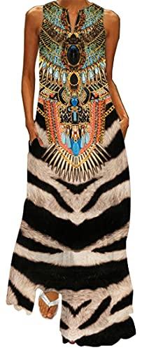 WINKEEY Vestido Maxi para Mujer Estampado Floral Mariposa Bohemio Vestido de Verano con Bolsillos Sin Mangas Moda Talla Grande, Marrón L