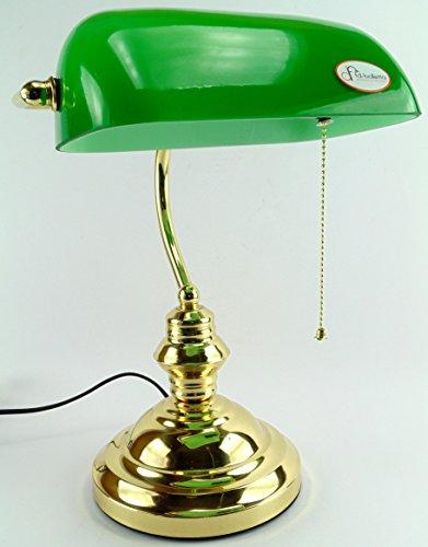 fd-bolletta arredamento e illuminazione lampada ministeriale churchill,lampada ottone catenella da scrivania vetro verde lm1 Misure:H 37cm,L 26cm,Ø base 18cm,profondità 22cm
