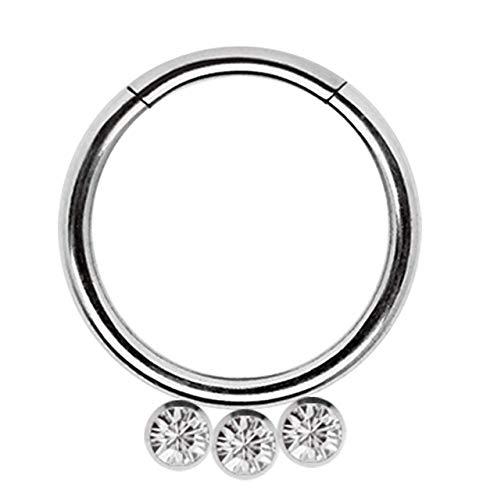 Piercing Smooth Segment Ring Clicker 316l Stahl in 1,2 x 8 mm mit 3 Steinplatten in klar