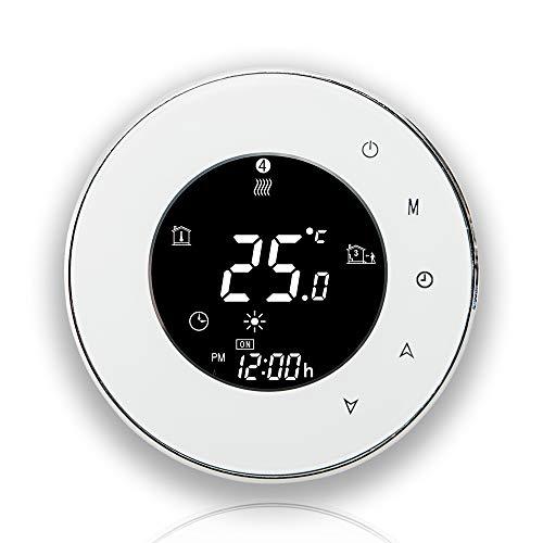BecaSmart 6000 Series 3 / 16A Pantalla táctil LCD Calentador de agua / electricidad / caldera Termóstato inteligente de control de programación con conexión WIFI (Calentamiento de caldera, Blanco)