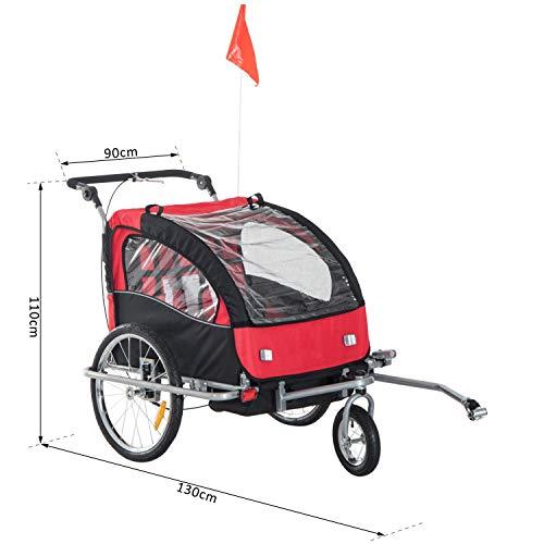 360° Drehbar Kinderanhänger 2 in 1 Fahrradanhänger Jogger 5 Farben NEU (Rot-Schwarz) - 6