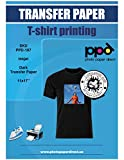PPD Inkjet PREMIUM Iron-On Dark T Shirt Transfers Paper 11x17' Pack of 20 Sheets (PPD107-20)