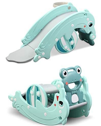 CLAMARO 'Delphin' 2in1 Kinder Rutsche und Wippe Kombination, Schaukeltier einfach umdrehen und aus der Wippe Wird eine Kinderrutsche für drinnen und draußen (ohne Umbau) - inkl. Basketballkorb - Mint