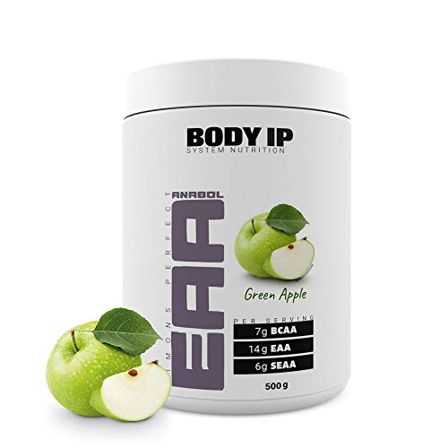 BODY IP Simons Perfect EAA   Green Apple   essentielle Aminosäuren für den Muskelaufbau   enthält alle EAAs, SEAAs und BCAAs   500g