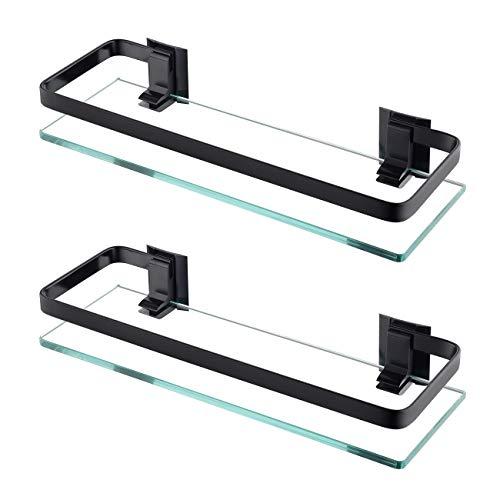 KES Estanteria Baño Aluminio Estanteria Pared 8MM Extra Gruesa Vidrio Templado Estanteria Ducha Rectangular Balda Cristal Baño Negro, 2 Paquete, A4126A-BK-P2