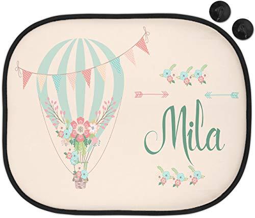 wolga-kreativ Auto Sonnenschutz und Sonnenblende Luftballon Mädchen Junge mit Name für Baby und Kind personalisiert Wunschname Bedruckt