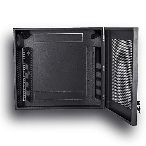 Kenuco Heavy Duty 16 Gauge Steel DVR Security Lockbox with Fan and Swing Open Top 24'' x 21'' x 7'' - (Black)