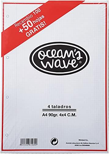 Ocean´s Wave Recambio Hojas Cuadriculadas A4 Perforadas Para Archivador De 4 Anillas (OCW70020OCW70020)
