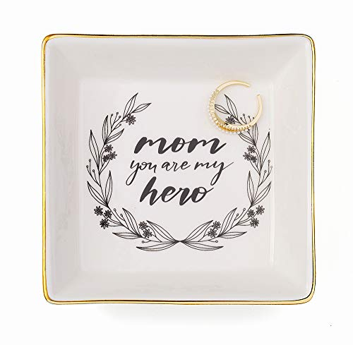 Joycuff Mom You are My Hero Marble Ceramic Ring Dish Hero Moms Jewelry Earring Trinket Tray