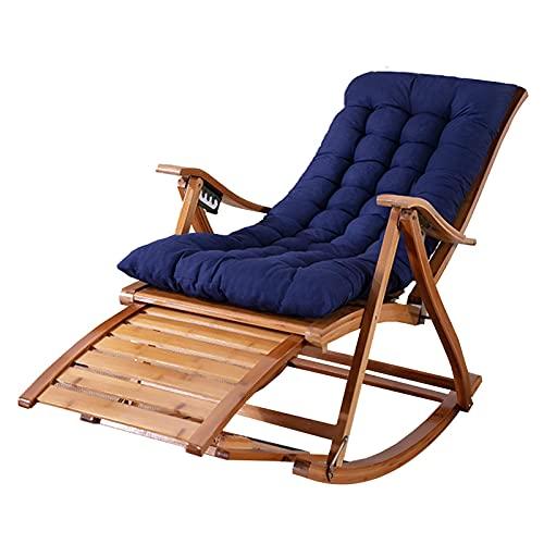 AWCPP Verstellbare Recliner, Die Bambus-Schaukelstuhl Zusammenklappten, Mit Abnehmbarem Baumwollkissen, Für Innengarten-Innengarten-Innenlieger, Ladung 200Kg,Stuhl + Blaues Kissen