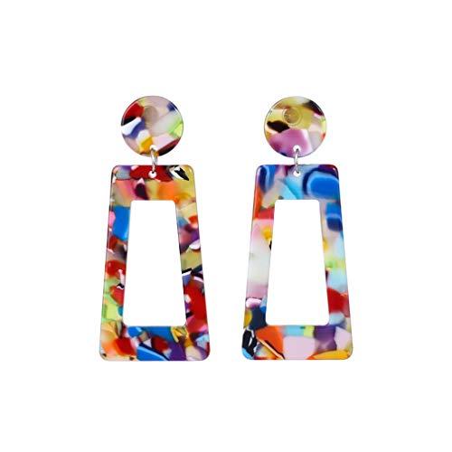 YAZILIND Personalidad simple Cuelga el pendiente Retro Resina geométrica Acrílico Colgante Pendiente de gota Regalo de la joyería de las mujeres (Color2)