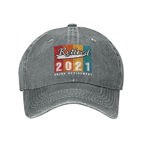Retired 2021 Enjoy Retirement 02 Baseball Caps Vintage Washed Denim Dad Hat Adjustable Trucker Hat