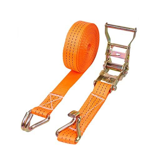 25 mm x 6 m trinquete correas tensoras con gancho en forma de J, cierre de trinquete, correas de amarre, correas de trinquete, bloqueo de rueda para transporte de coche, color naranja