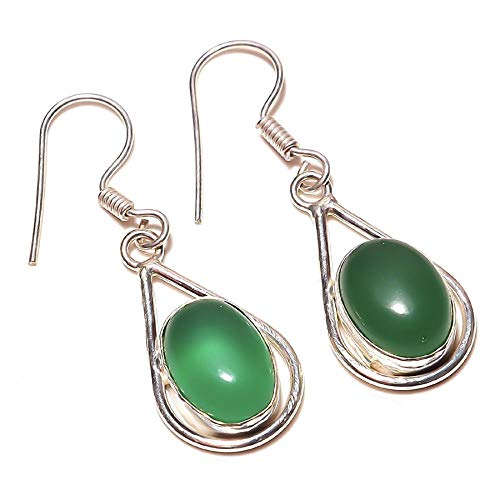 Pretty! Green ONYX EARRING 1.5' Long, HANDMADE Silver Plated! Ethnic Wear Jewelry from Kashish! Wedding Anniversary Gift And Birthday