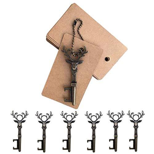 12 apribottiglie a forma di renna natalizia, per bomboniere, decorazione rustica, con targhetta in bronzo