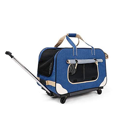 SYLTL Bolsa Transportín para Perros, Jaula De Perro para Coche, Bolsa De Transporte para Perros Y Gatos, Transportín para Mascotas Abatible con Palanca, Multifuncional,Azul