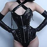 Inicio Accesorios Algodón Negro Corsé de Charol Corte Retro Acero Europeo Hueso Abdomen Cremallera Escultura Corporal