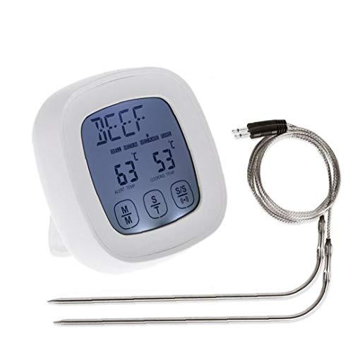 JRXyDfxn Fleisch-Thermometer-Digital-Grill Ofen Koch Thermometer Touchscreen Lebensmittel Edelstahl Dual-Sonden für die Grill Küche rösten Weiß TS-802A