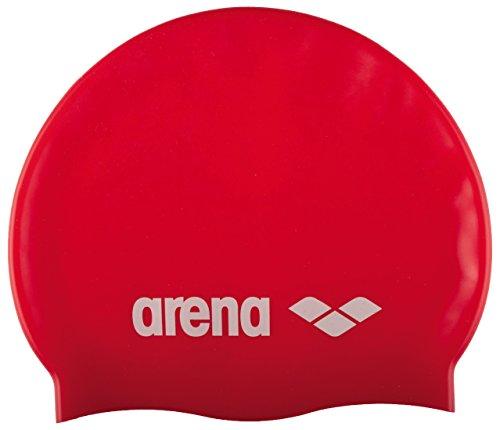 arena Unisex Badekappe Classic Silikon (Verstärkter Rand, Weniger Verrutschen der Kappe, Weich), Red-White (44), One Size