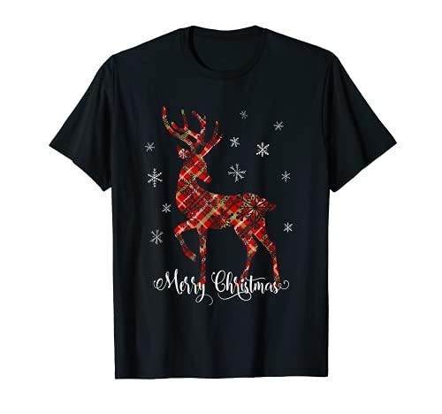 Merry Christmas Fiocchi Di Neve Bambini Donne Renna Natale Maglietta