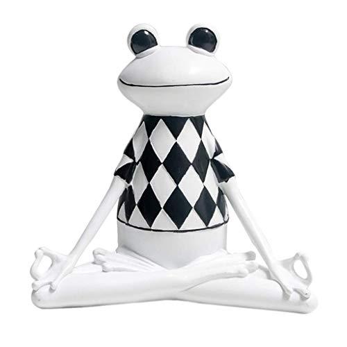 Tubayia Estatua de resina creativa con forma de rana de yoga para casa, coche, oficina, decoración (A)