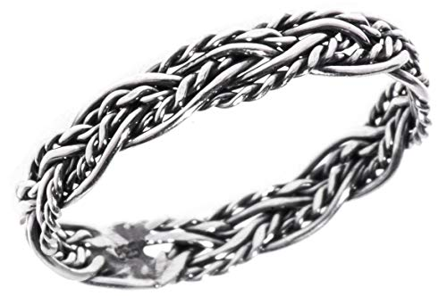 Windalf Zarter Wikingerring RICARA h: 0.3 cm Zopf-Muster Damenring Hochwertiges Silber (Silber, 48 (15.3))