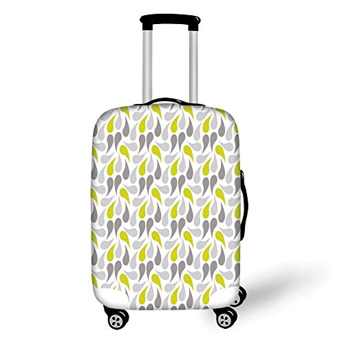 Travel Luggage Cover Suitcase Protector,Geometric,Abstract Paisley Design Middle Eastern Culture Inspired Retro Ornate Decorative,Yellow Green Grey White,for Travel S