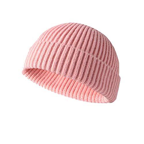 Y&J Winter Knit Cuff Beanie Cap Trawler Beanie Hat Short Fisherman Skull Cap Wool Beanie for Men Women. (One Size fit Most, Pink)