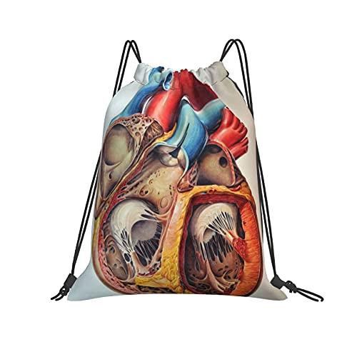 Mochila de anatomía humana con cordón y diseño de corazón, para deporte, gimnasio, senderismo, yoga, natación, viajes, playa, para mujeres y hombres - blanco - talla única