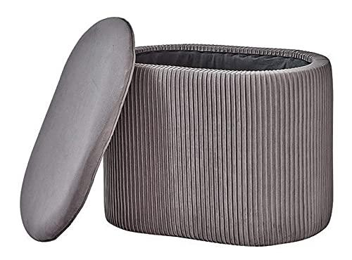 Mxfurhawa Moderner Kosmetikhocker aus Samt mit Stauraum, Fußstütze, ovaler Sitz, gepolsterter Stuhl mit abnehmbarem Bezug für Wohnzimmer, Schlafzimmer (grau)