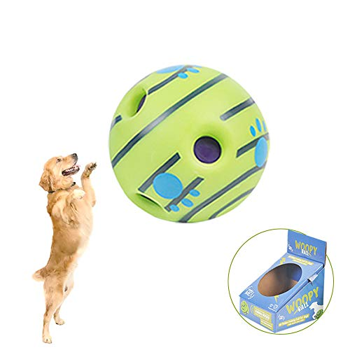 Upgraded Wobble Squeaky Woopy Ball with Funny Giggle Sounds Interactive Dog Toy That Make Noisies Pet Playing & Training Safe Green Wab Gift for Puppies, Small, Medium and Large Dogs