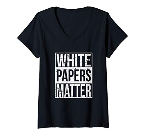 Womens White Papers Matter Funny Bitcoin Altcoin ICO Investor V-Neck T-Shirt
