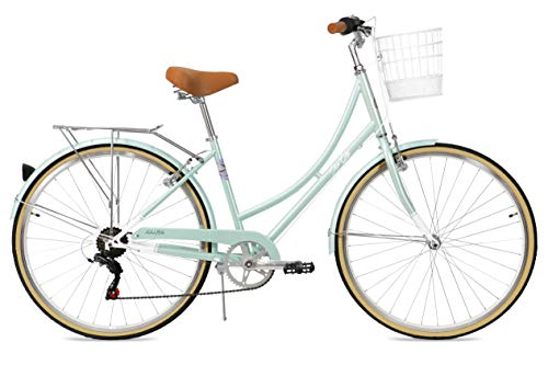 FabricBike Step City Damenfahrrad Amsterdam 28 Zoll Komfort Bike 7 Gang Hollandrad im Retro-Design (Mint Green + Korb)