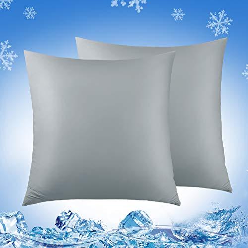 Luxear kühlender Kissenbezug 2er Set, Kissenhülle weichdünn atmungsaktiv mit Reißverschluss, seidige Kissenbezüge Haare/Haut schonend für Schlafzimmer Sofa Deko, 80 x 80 cm- Grau