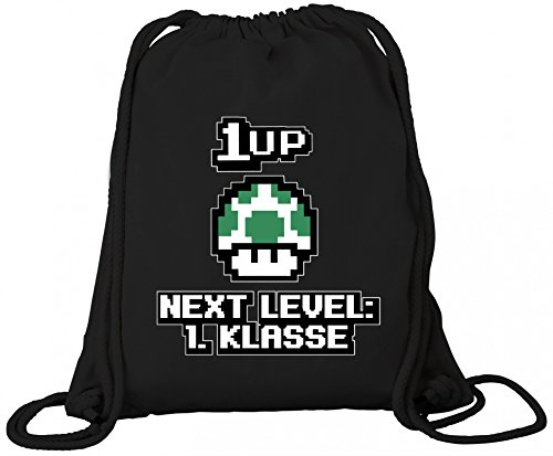 Einschulungsgeschenk Erstklässler Schulkind Premium Bio Baumwoll Turnbeutel Rucksack Stanley Stella Retro Gamer 1 Up Pilz - Next Level 1. Klasse, Größe: onesize,Black